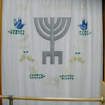 Seven Species and Ancient Menorah Parochet for Caesarea for the high holydays