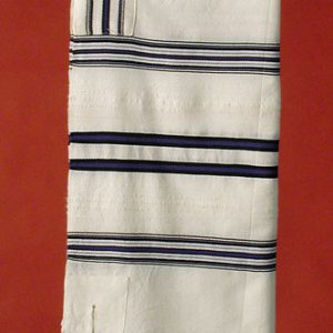 Tallit with Black and Blue Stripes