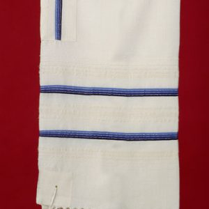 Tallit with Four Blues and Silver Stripes