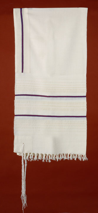 Tallit with Navy and Burgundy Stripes